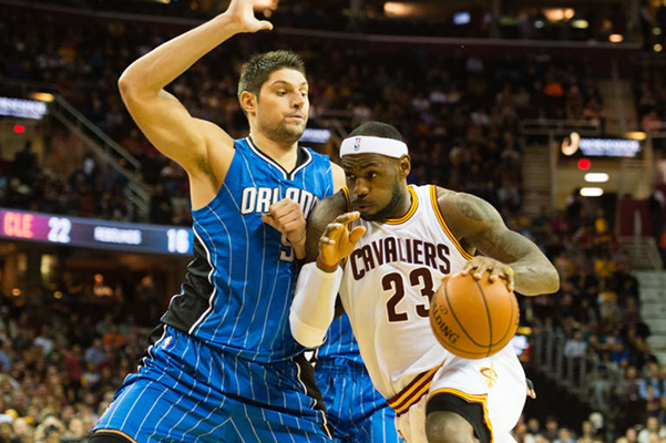 LeBron against Nikola Vucevic of the Orlando Magic