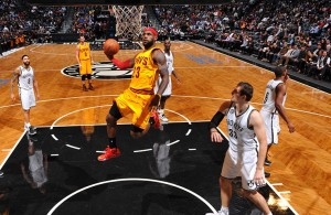 LeBron James shooting a layup against the Brooklyn Nets