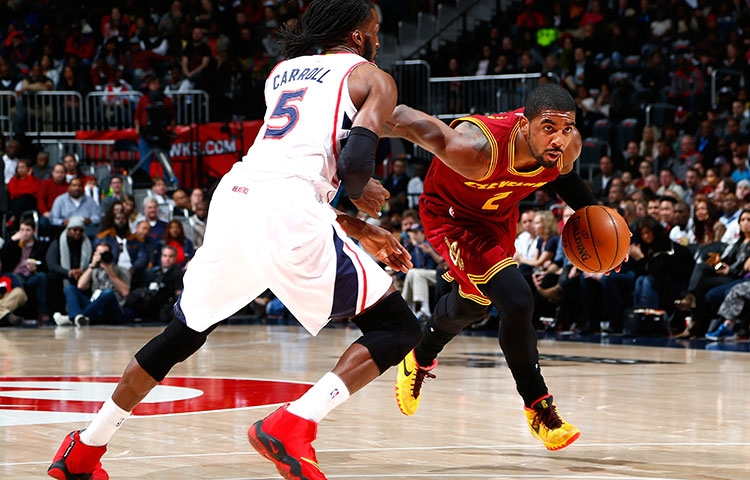 Kyrie Irving driving against the Atlanta Hawks