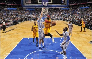 LeBron James driving to basket vs. Orlando Magic on December 26, 2014