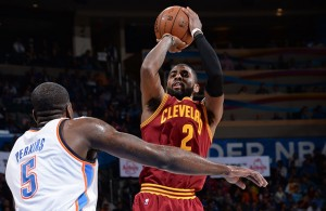Kyrie Irving of the Cleveland Cavaliers shooting a jumper against Oklahoma City on December 11, 2014