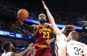 LeBron James driving against New Orleans Pelicans on December 12, 2014