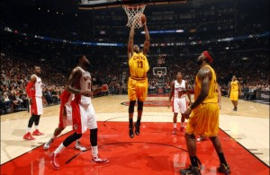 Tristan Thompson dunks for the Cleveland Cavaliers
