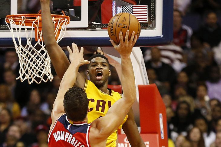 Tristan Thompson trying to block a Washington Wizard shot on November 26, 2014