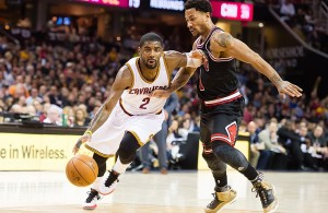 Kyrie Irving against Derrick Rose