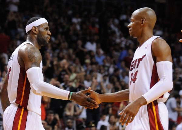 LeBron James and Ray Allen on Miami Heat