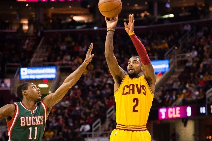 Kyrie Irving shooting against Milwaukee Bucks on December 31, 2014