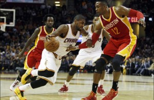 Kyrie Irving driving against the Houston Rockets on January 7, 2015