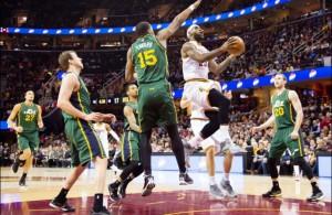 LeBron James driving against Utah Jazz on January 21, 2015