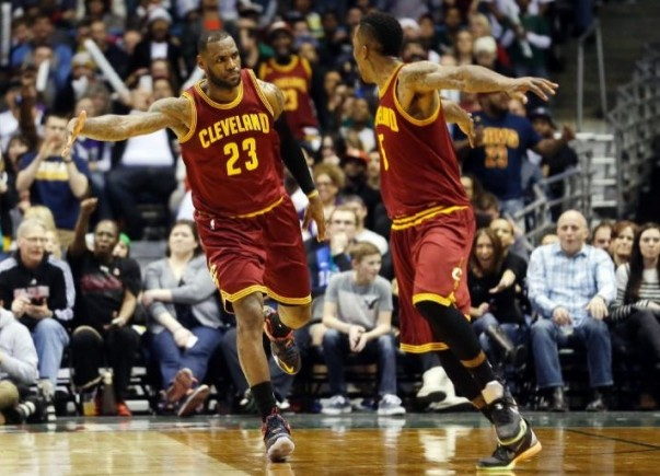 LeBron James and J.R. Smith vs. Milwaukee on March 22, 2015