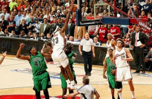 LeBron dunk vs. Kevin Garnett Celtics