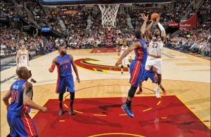 LeBron James vs. Detroit Pistons on April 13, 2015