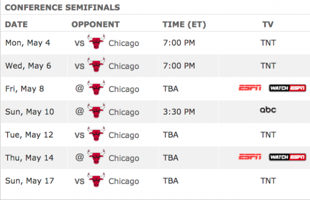 Eastern Conference Semifinals Schedule