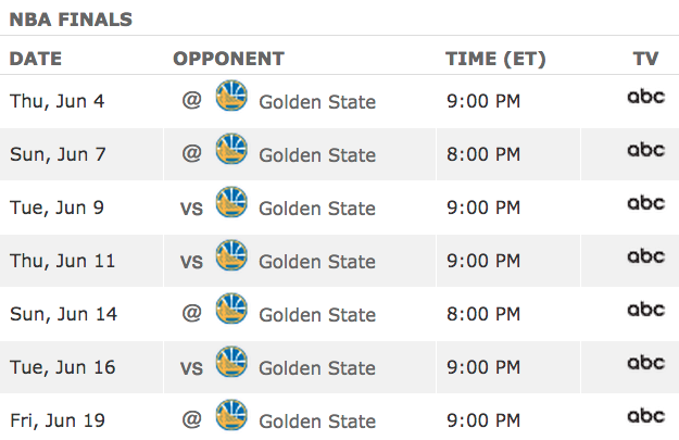2015 NBA Finals Schedule
