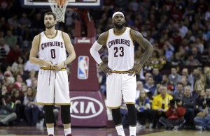 Kevin Love and LeBron James on the Cleveland Cavaliers