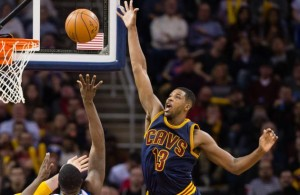 Tristan Thompson blocking a shot