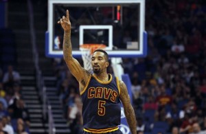 J.R. Smith pointing on the Cleveland Cavaliers