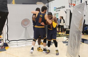 LeBron James, Kevin Love, and Kyrie Irving on media day