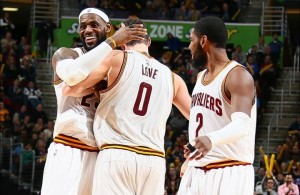 LeBron James, Kevin Love, and Kyrie Irving