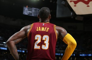 LeBron James looking up