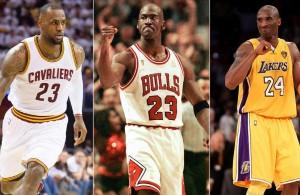 LeBron James, Michael Jordan, and Kobe Bryant