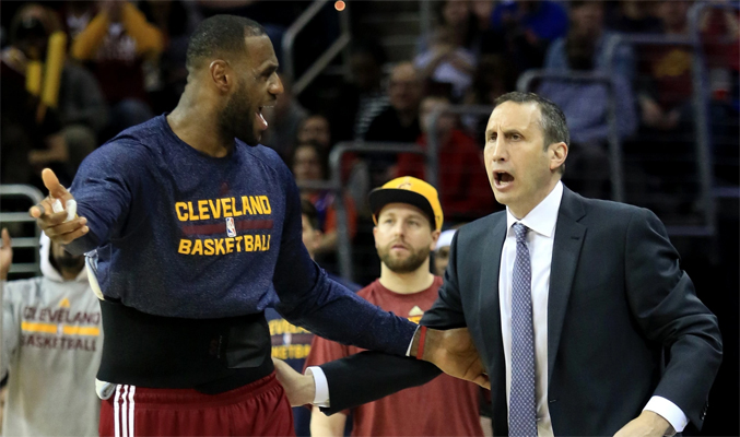 LeBron James and David Blatt arguing