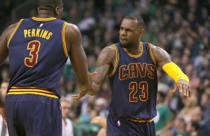 Kendrick Perkins and LeBron James