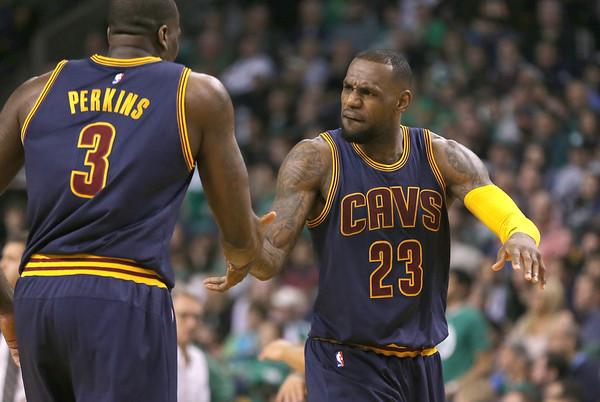 Kendrick Perkins and LeBron James