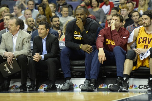 LeBron James and Kevin Love on Bench
