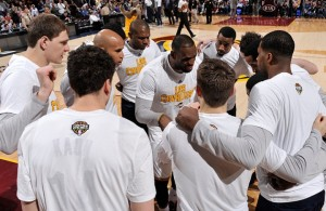 LeBron James Cleveland Cavaliers huddle