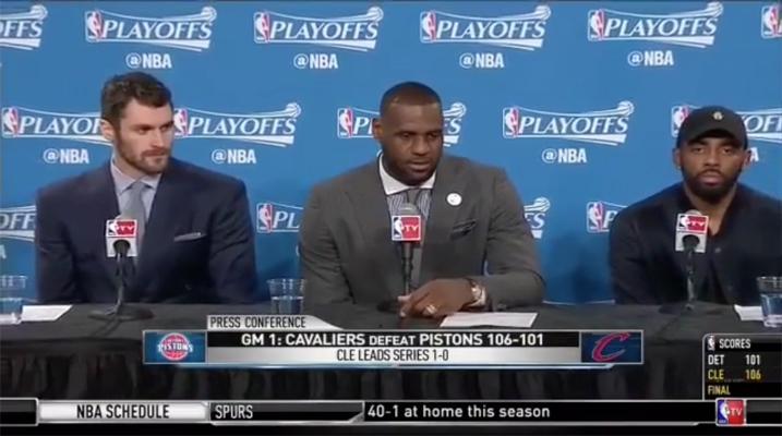 Kevin Love, LeBron James, Kyrie Irving
