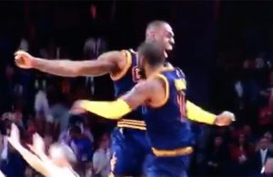 Video: LeBron Emphatically Celebrates Kyrie's Dagger Triple