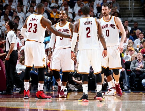 LeBron James, J.R. Smith, Kyrie Irving, Kevin Love