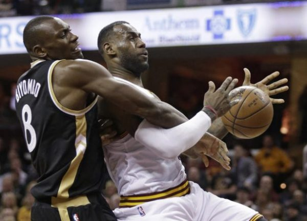 Bismack Biyombo and LeBron James