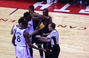 Video: Cavaliers and Raptors Get Into Scuffle, LeBron James Ends up on Ground
