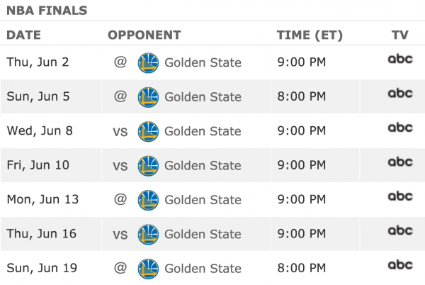 Image Gallery nba finals schedule 2016