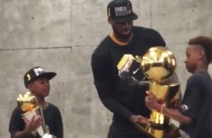 Video: LeBron James Shares Championship Trophy With Sons