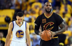 LeBron James and Steph Curry sad