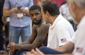 Kyrie Irving and Mike Krzyzewski