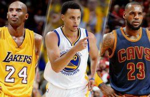 Kobe Bryant, Steph Curry, LeBron James
