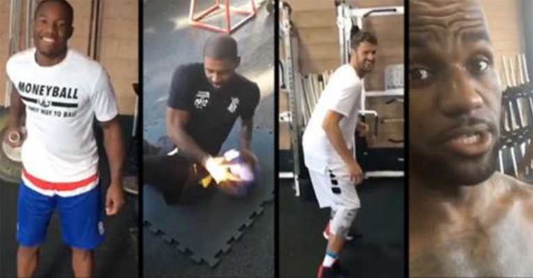 Kay Felder, Kyrie Irving, Kevin Love, LeBron James Workout
