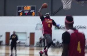 LeBron James dunking training camp