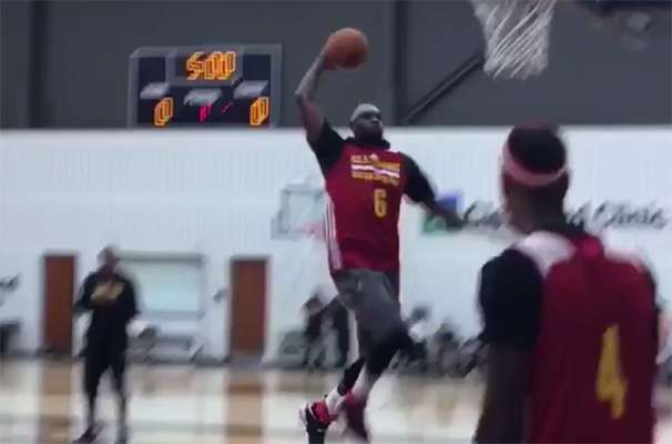 LeBron James dunking training camp