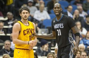 Kevin Love and Kevin Garnett