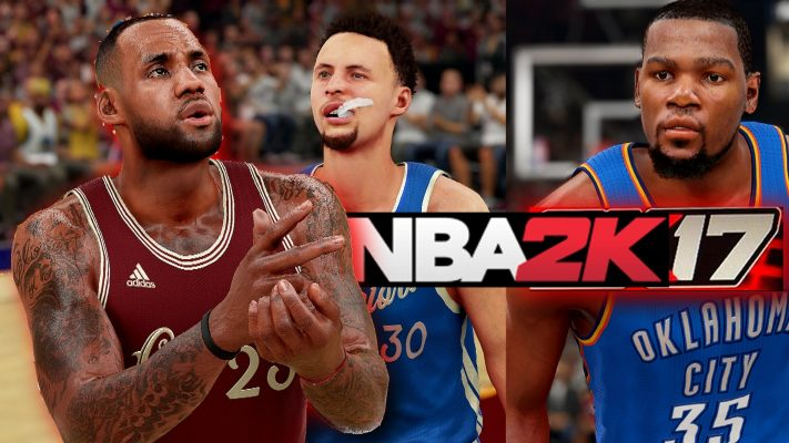 LeBron James, Steph Curry, Kevin Durant NBA 2K17