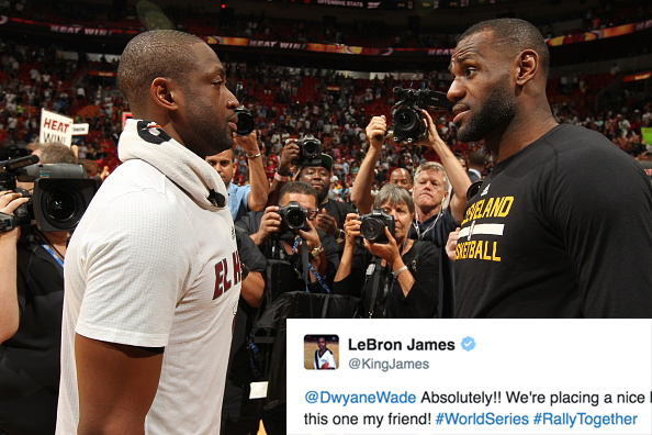 Dwyane Wade and LeBron James Cavs Heat