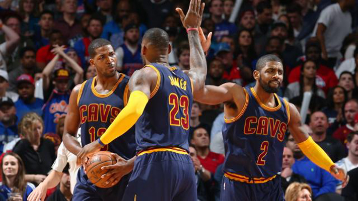Tristan Thompson, LeBron James, Kyrie Irving
