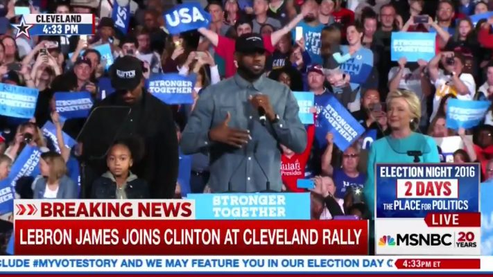 J.R. Smith, LeBron James, and Hillary Clinton