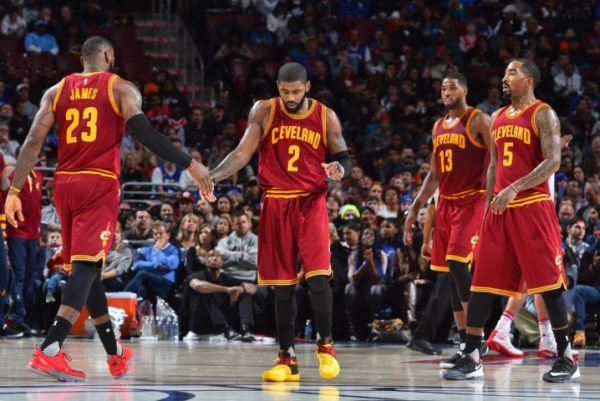 LeBron James, Kyrie Irving, Tristan Thompson, J.R. Smith