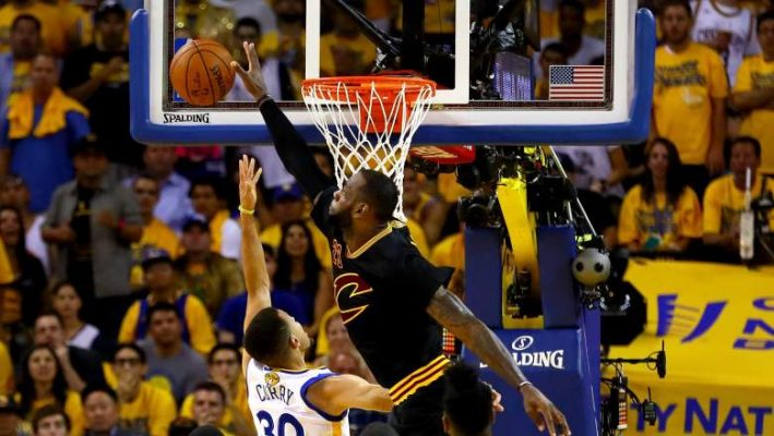 LeBron James Blocking Stephen Curry
